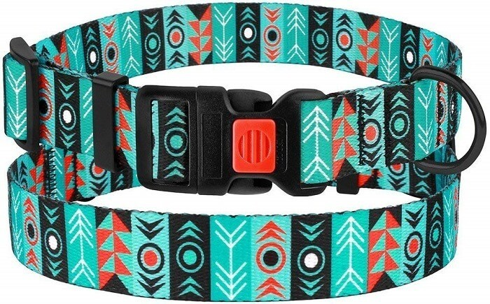 CollarDirect Nylon Dog Collar with Buckle Tribal Pattern