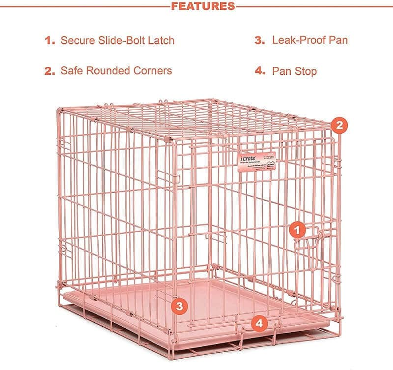 iCrate Single Door Pink Dog Crate